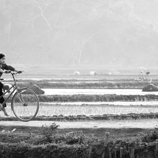 """A little girl on bike"" stock image"