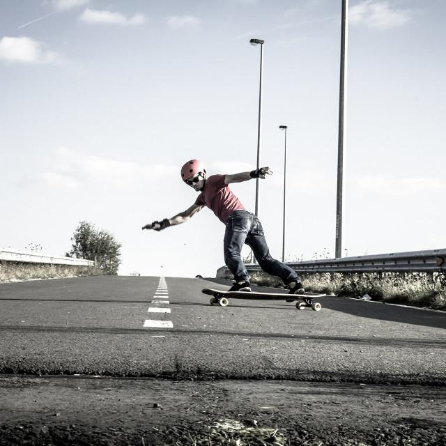 """""""Longboard toeslide"""" stock image"""