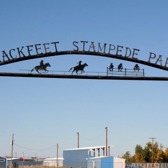 """Blackfeet Indian rodeo park"" stock image"