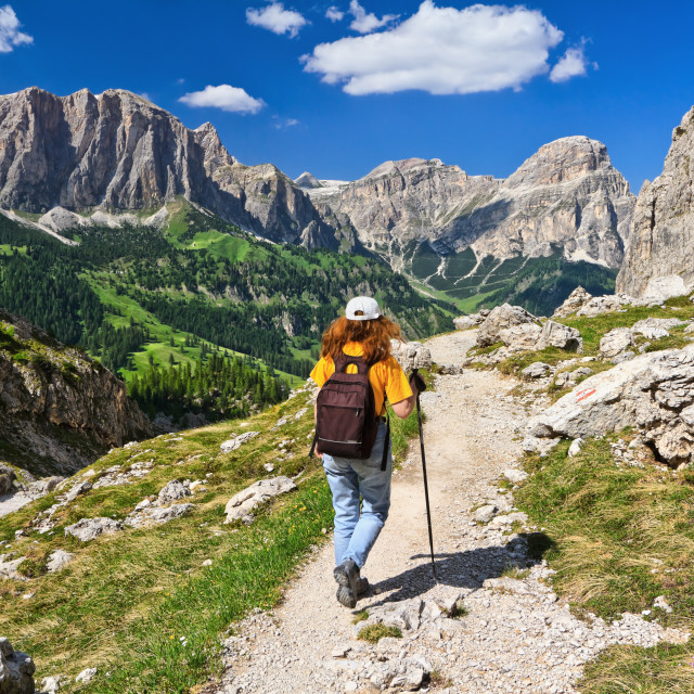 """Dolomiti - hiker in Badia Valley"" stock image"