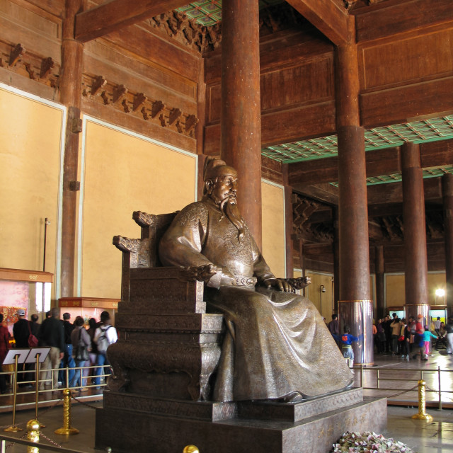 """Statue of the Yongle Emperor inside Ming Dynasty tombs hall - Be"" stock image"