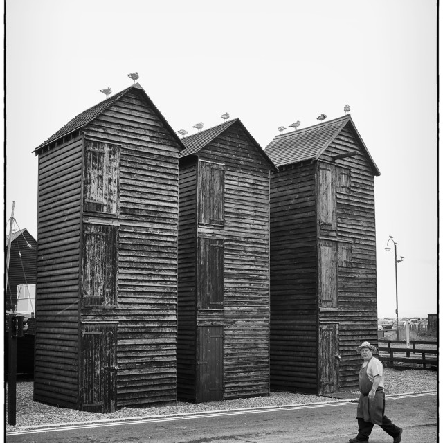 """""""Hastings Old Town Net Huts"""" stock image"""