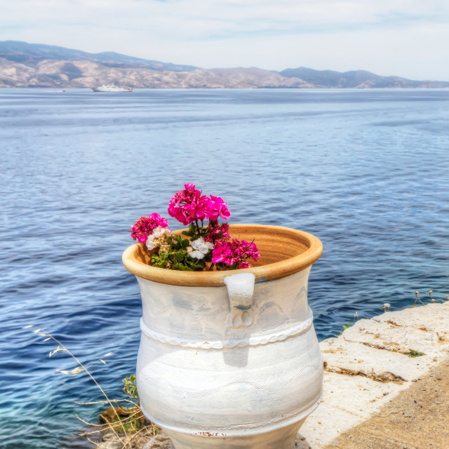 """Flower pot over Aegean Sea in Hydra, Greece"" stock image"