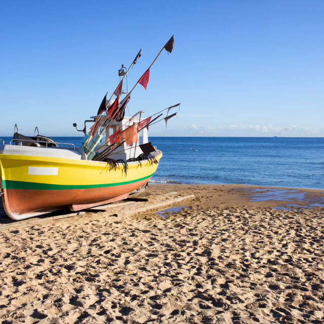 """""""Boat on a Sandy Beach"""" stock image"""