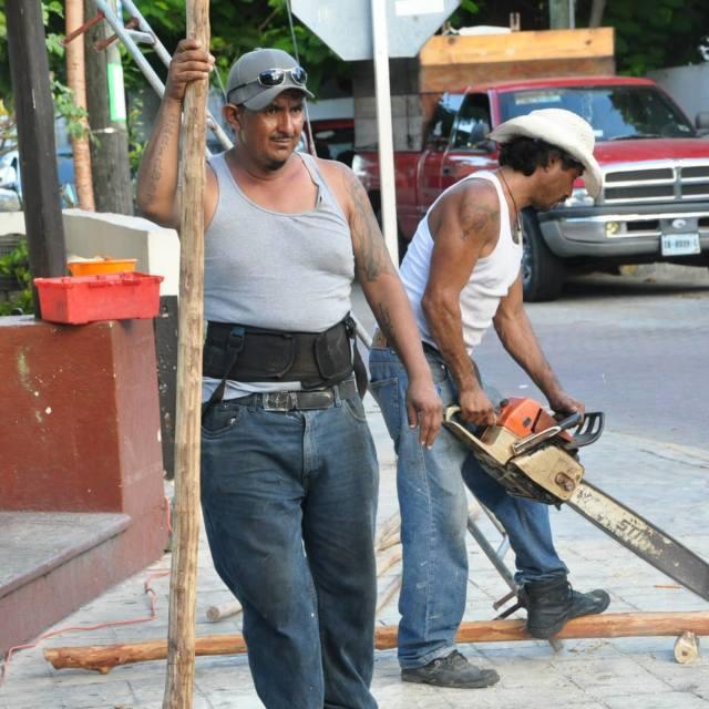 """Construction Workers Isla Muljeres"" stock image"