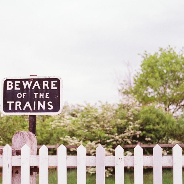 """Beware of the trains"" stock image"