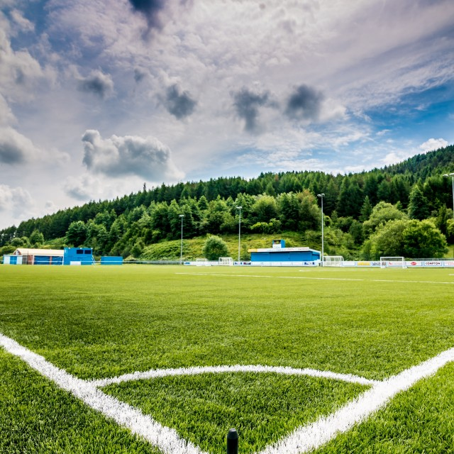 """A football pitch somewhere in the UK."" stock image"