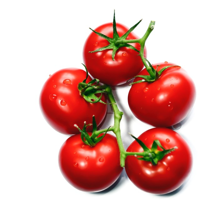 """Fresh red tomatoes isolated on white background."" stock image"