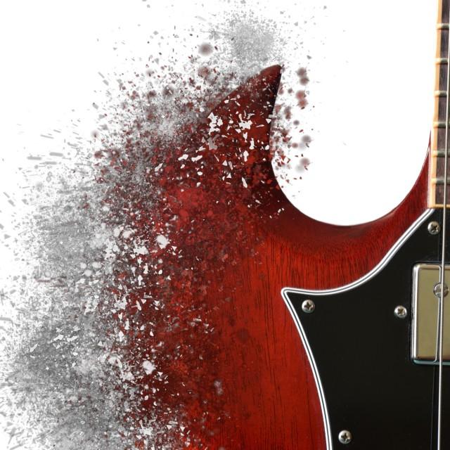 """Exploding guitar"" stock image"
