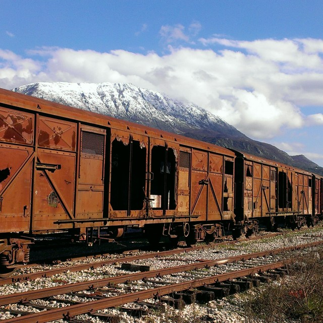 """abandoned train on a railway"" stock image"