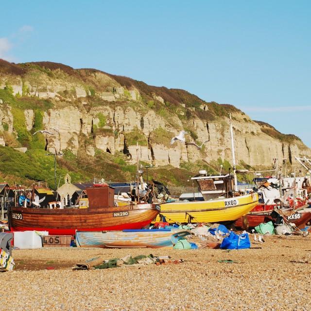 """""""Fishing fleet, Hastings"""" stock image"""
