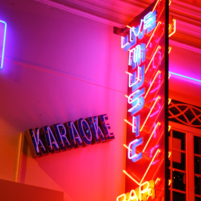 """Albufeira Neon Lights"" stock image"