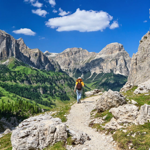 """Dolomites - hiker in Badia Valley"" stock image"