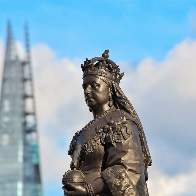 """Queen Vic and The Shard"" stock image"