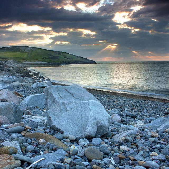 """Sunset over the Irish Sea"" stock image"