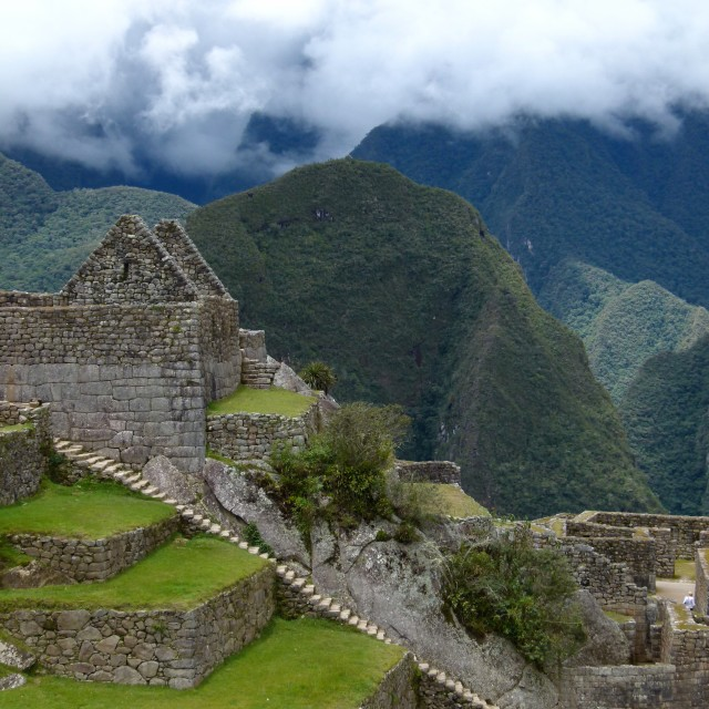 """Machu Picchu, house and steps"" stock image"