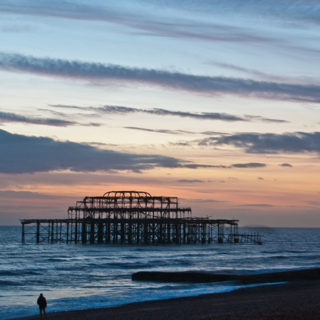 """West Pier and Beach"" stock image"