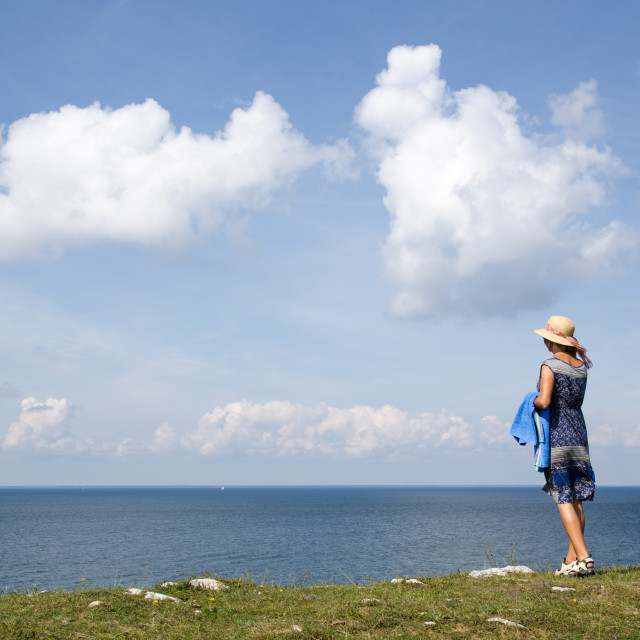 """""""Woman on the go to the beach"""" stock image"""