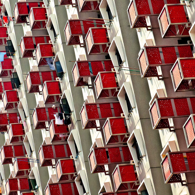 """RED BALCONIES"" stock image"