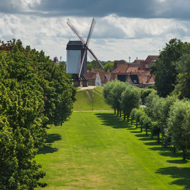 """Koelewei Mill, Bruges"" stock image"
