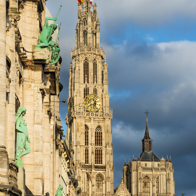 """""""Spire of Cathedral of Our Lady, Antwerp, Belgium"""" stock image"""
