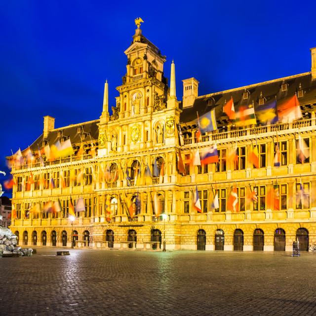 """Antwerp, Grote Markt and town hall, Belgium"" stock image"
