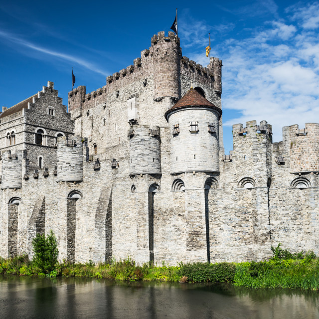 """Gravensteen Castle and Lieve River, Gent"" stock image"