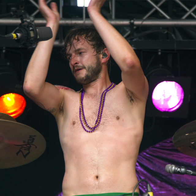 """""""Drummer, Iwan Dubrowski applauding after the performance"""" stock image"""