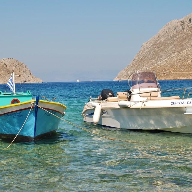"""Pedi bay, Symi island"" stock image"