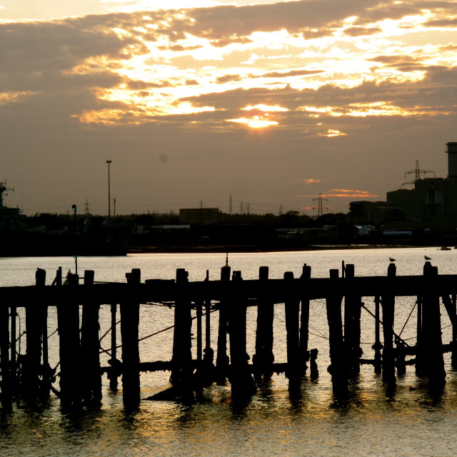 """Southampton Harbour Sunset 1"" stock image"