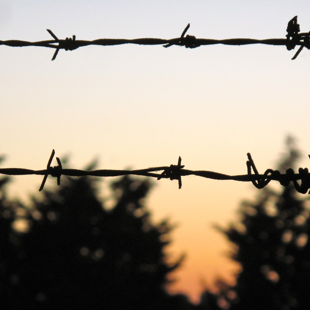 """Barbed Wire Sunset 1"" stock image"