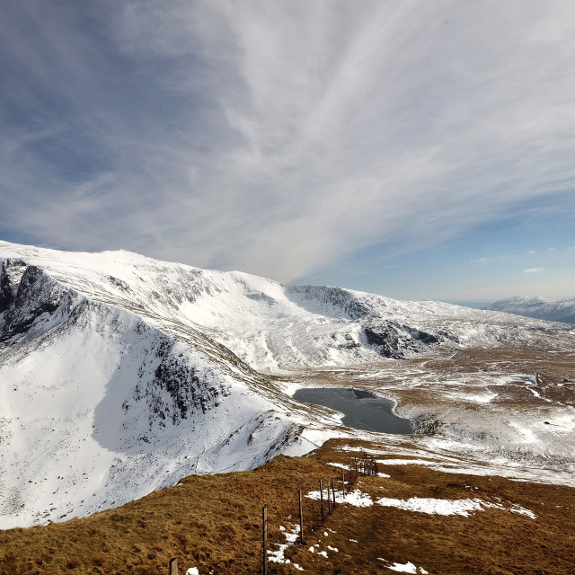 """Snowdonia winter wide angle"" stock image"