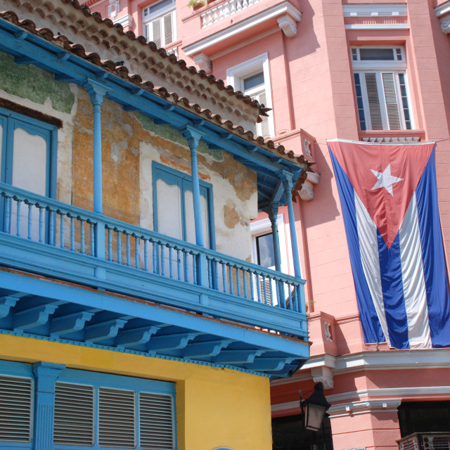"""Havana buildings with Cuban Flag"" stock image"
