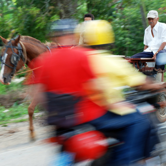 """Horse and Moto, Cuba"" stock image"