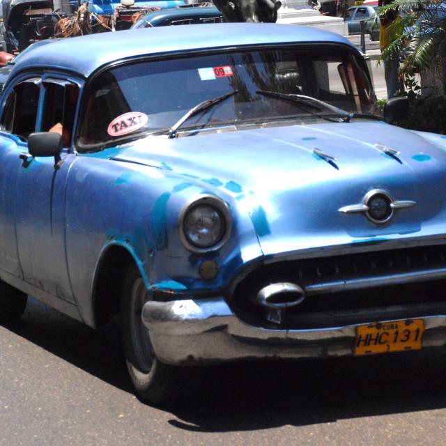 """Blue Chevy, Cuba"" stock image"