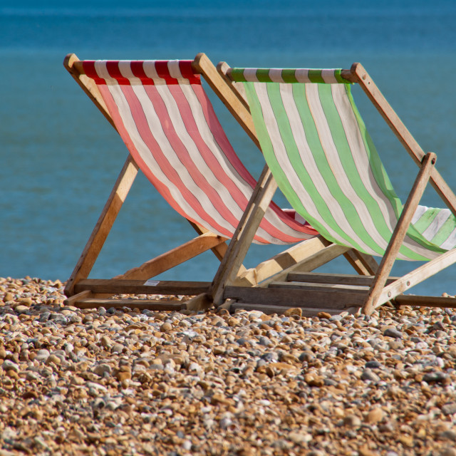 """Red and green deckchairs"" stock image"