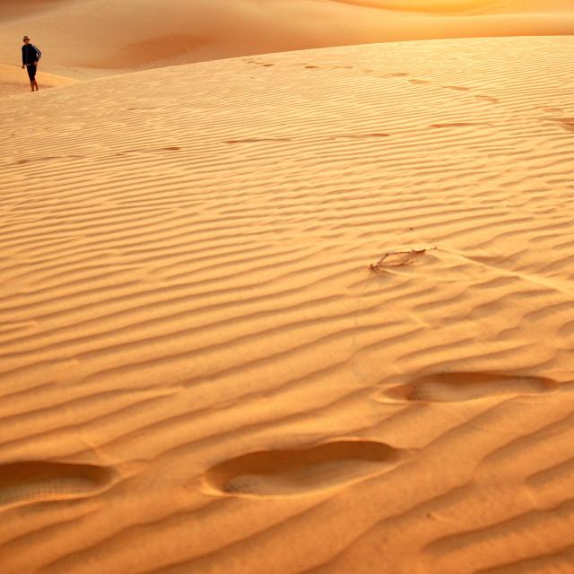 """Walking the dunes"" stock image"