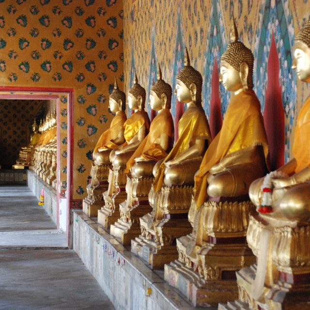 """Row of Buddhas, Bangkok"" stock image"