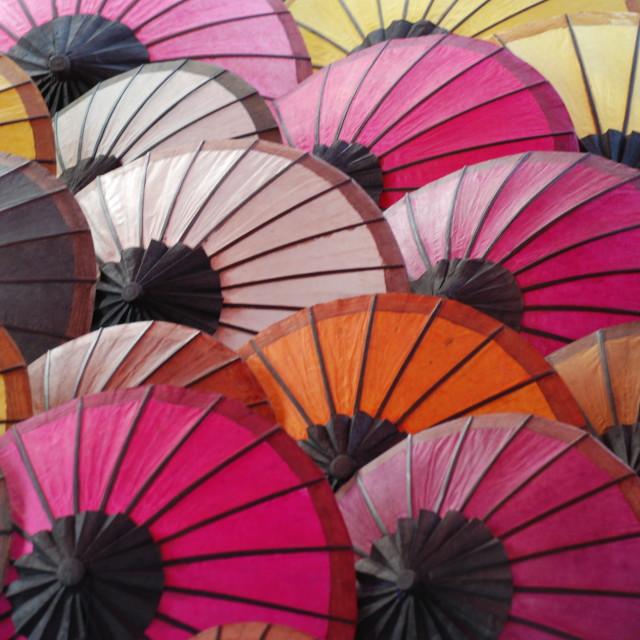 """Umbrellas, Luang Prabang, Laos"" stock image"