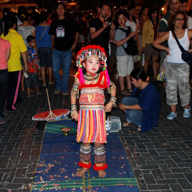 """Street Performer, Bangkok"" stock image"