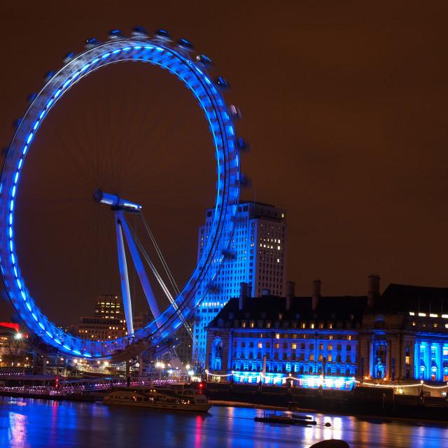 """London eye by night"" stock image"