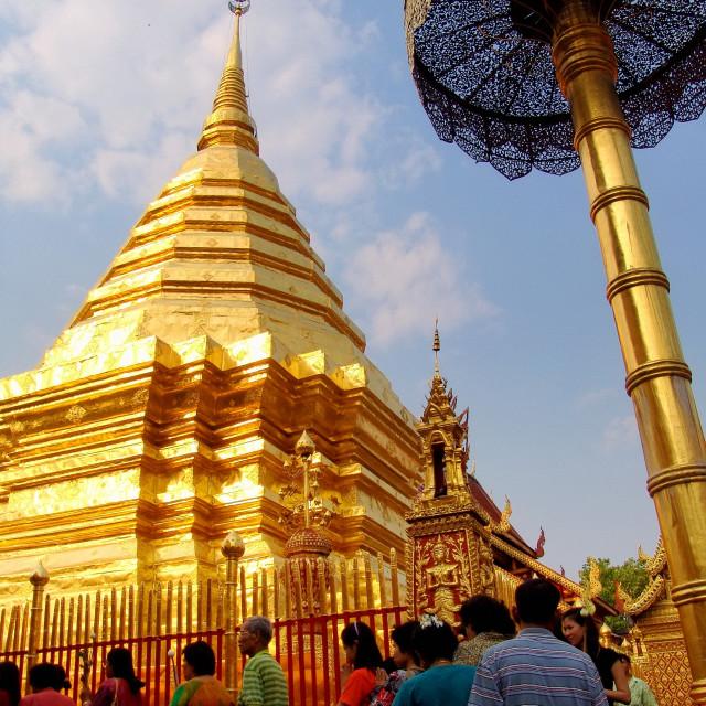 """People circumambulating the Stupa, Thailand"" stock image"
