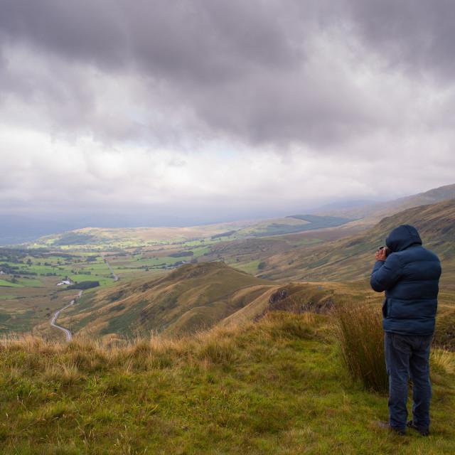 """taking landscape photograph Snowdonia"" stock image"