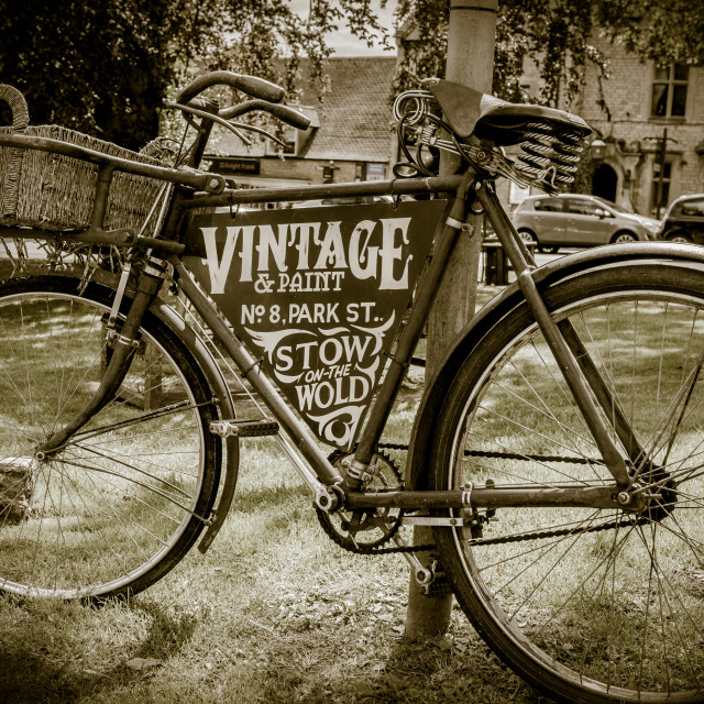 """""""Vintage bike Stow on the Wold in the Cotswolds"""" stock image"""