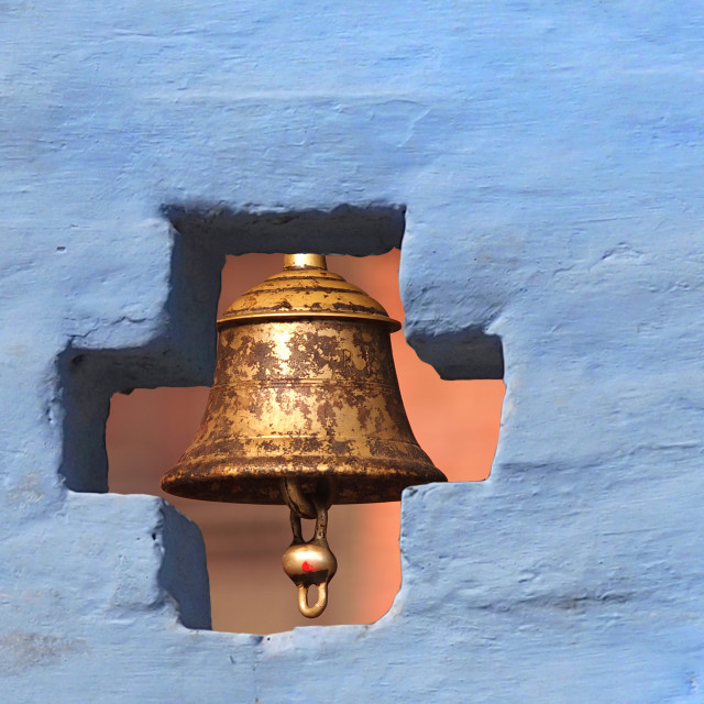 """bell behind the wall"" stock image"