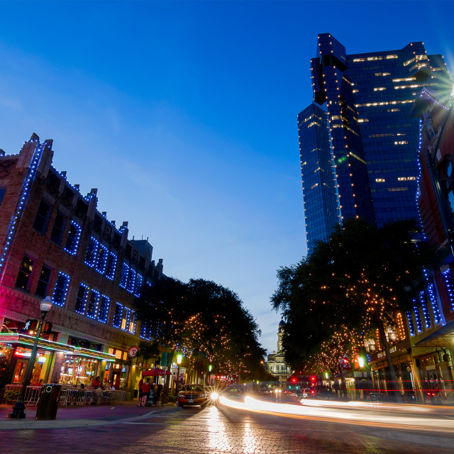 """Blue hour at the Sundance Square (Fort Worth)"" stock image"