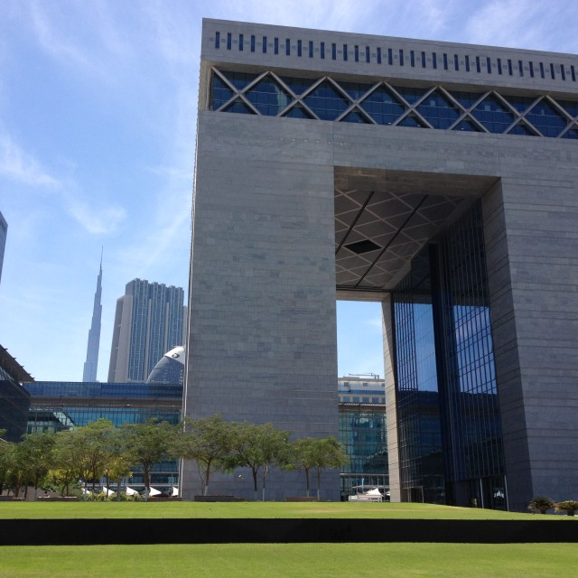 """The Gate, Dubai Financial Center"" stock image"