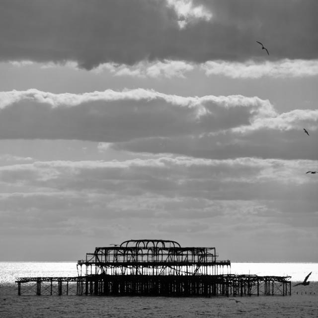 """West Pier monochrome"" stock image"