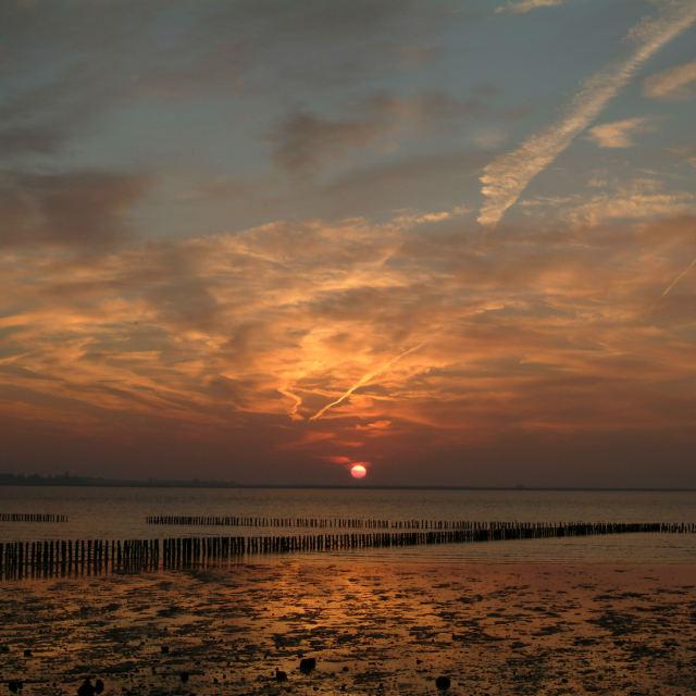 """""""Sunrise, East Mersea"""" stock image"""
