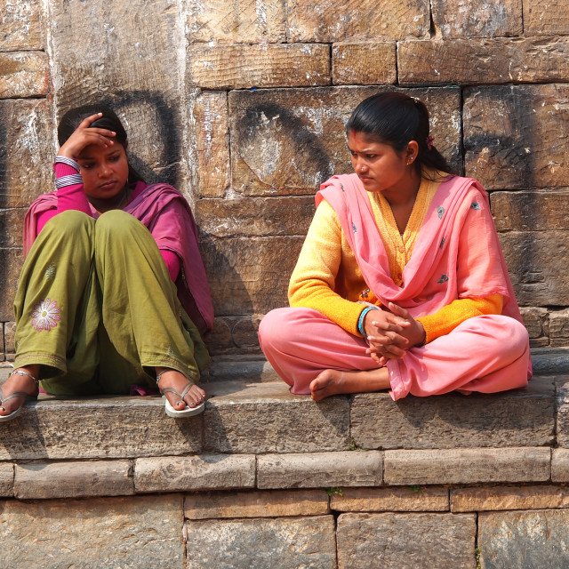 """""""young girls in Nepal"""" stock image"""